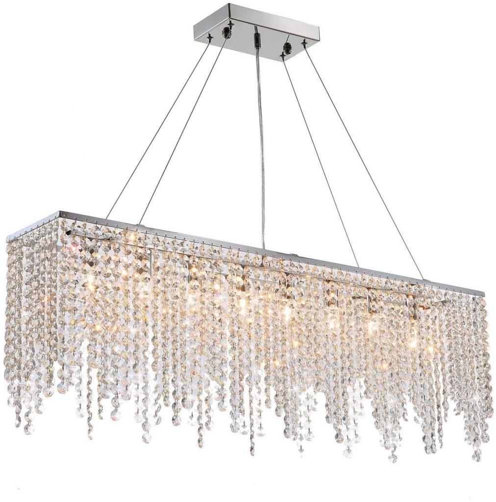 lampadario stile classico cristalli rettangolare