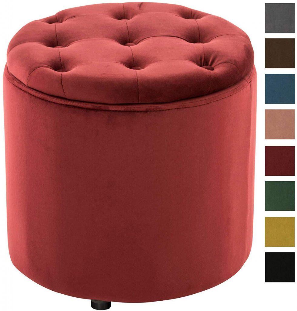 pouf rosso capitonne contenitore camerette classiche